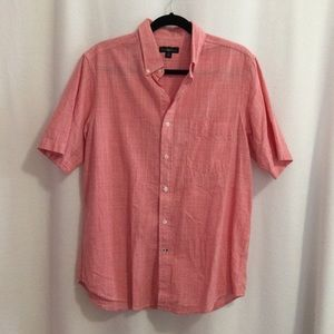 Club Room Button Shirt Red White Short Sleeve